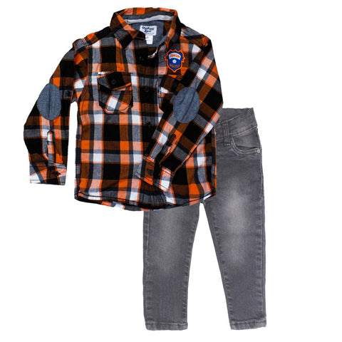 OSHKOSH Orange Check Shirt 2 Piece Set