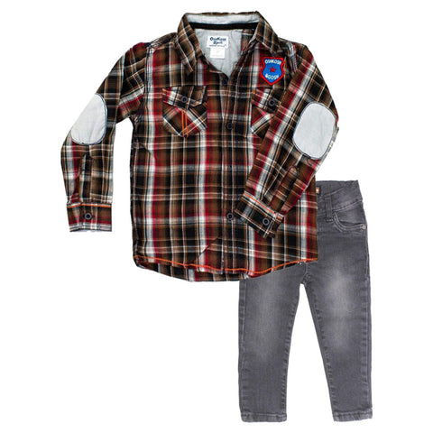 OSHKOSH Red Check Shirt 2 Piece Set