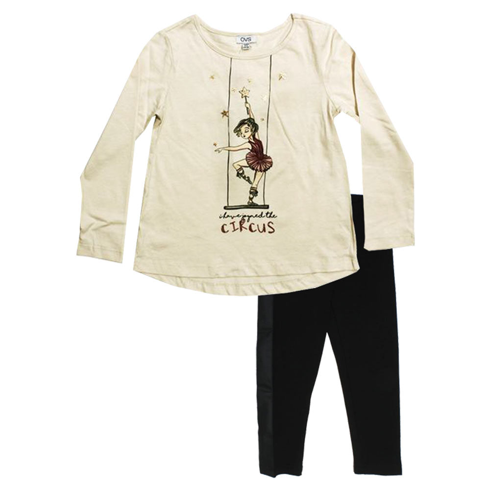 OVS Girl Print Off White Premium Cotton Tshirt 2 Piece Set