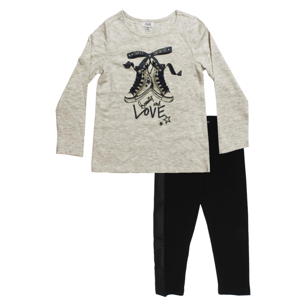 OVS Shoes Print Grey Girls Premium Cotton Tshirt 2 Piece Set