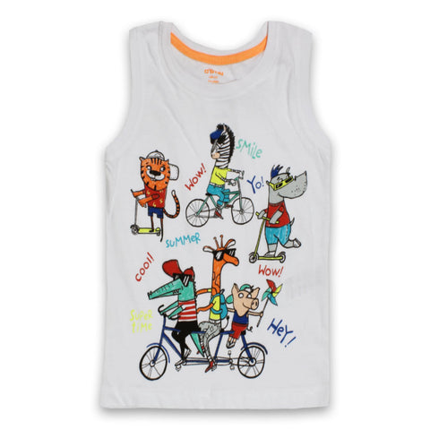 O`STIN Cartoon Print White Boys Cotton Tank Top