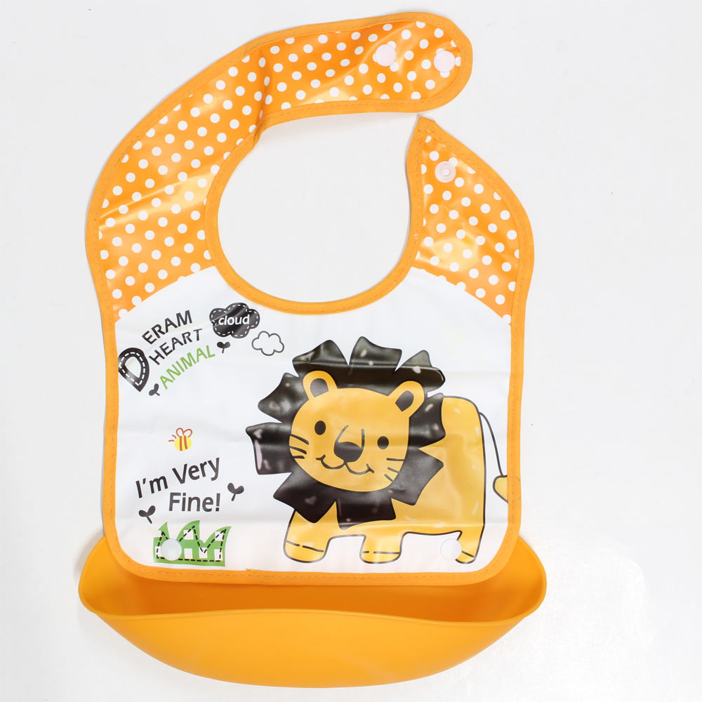 Lion Orange Waterproof Baby Bib with Food Catcher