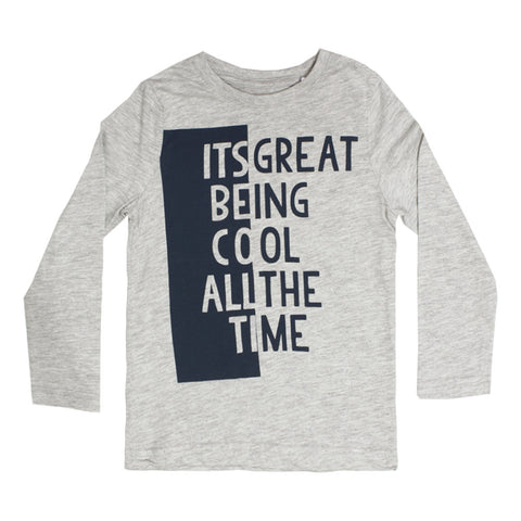 PALOMINO Cool All The Time Grey Boys Premium Cotton Tshirt