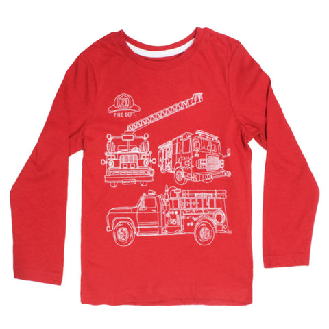 PALOMINO Fire Truck Print Red Boys Premium Cotton Tshirt