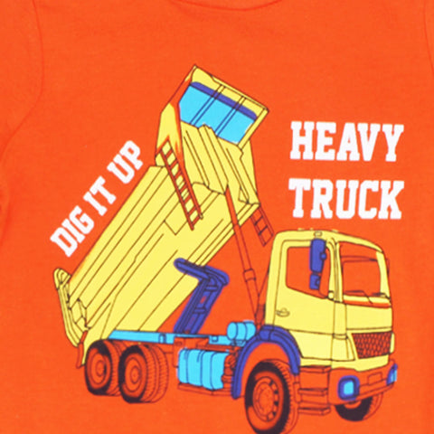 PALOMINO Heavy Truck Print Orange Boys Premium Cotton Tshirt