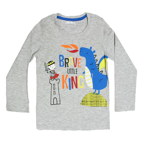 PEPCO King Print Grey Boys Premium Cotton Tshirt