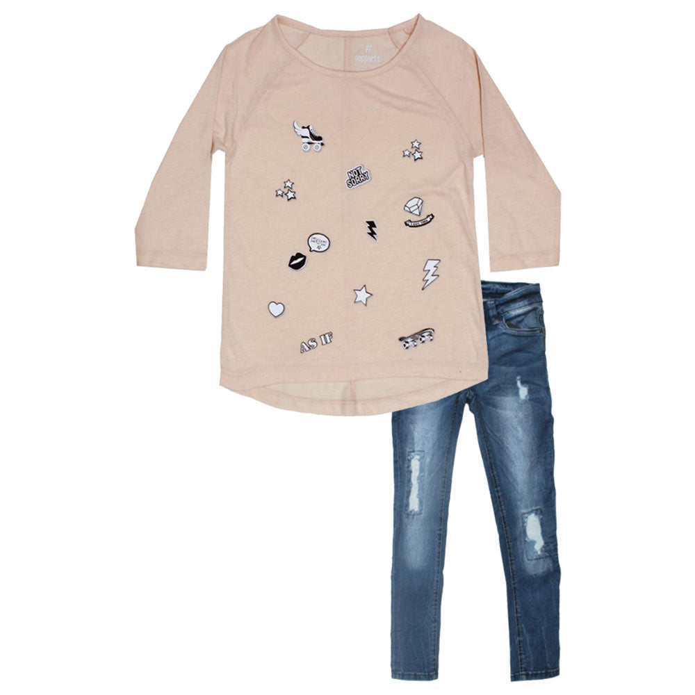PEPPERTS Not Sorry Glitter Print Baby Pink Girls Premium Cotton 2 Piece Set