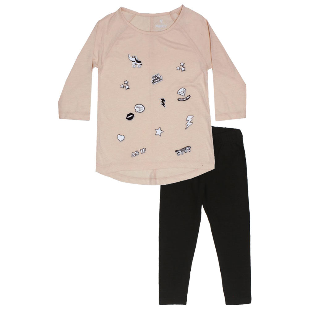 PEPPERTS Not Sorry Glitter Print Baby Pink Girls Premium Cotton Tshirt 2 Piece Set