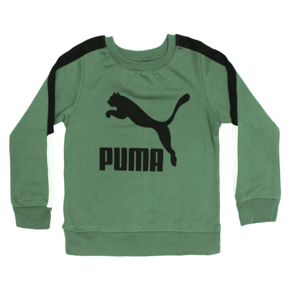 PUMA Black And White Boys Cotton Green Sweat Shirt