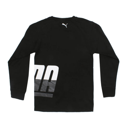 PUMA Black Boys Cotton Fleece Sweat Shirt