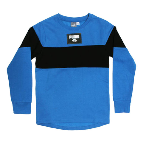 PUMA Blue And Black Boys Cotton Fleece Sweat Shirt 2 Piece Set