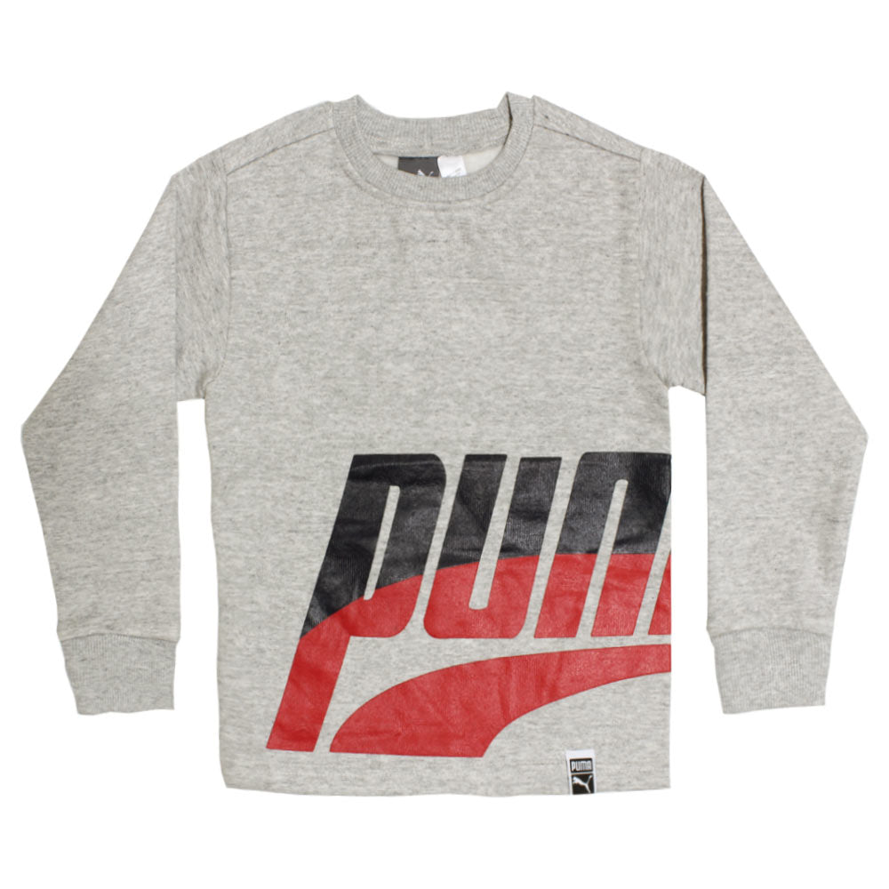 PUMA Blue And Red Boys Cotton Grey Sweat Shirt
