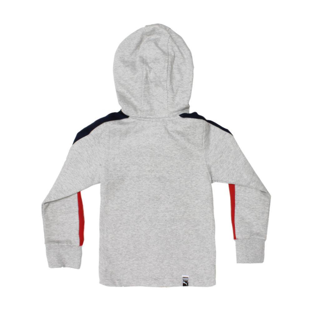 PUMA Blue And Red Grey Boys Cotton Fleece Hoodie