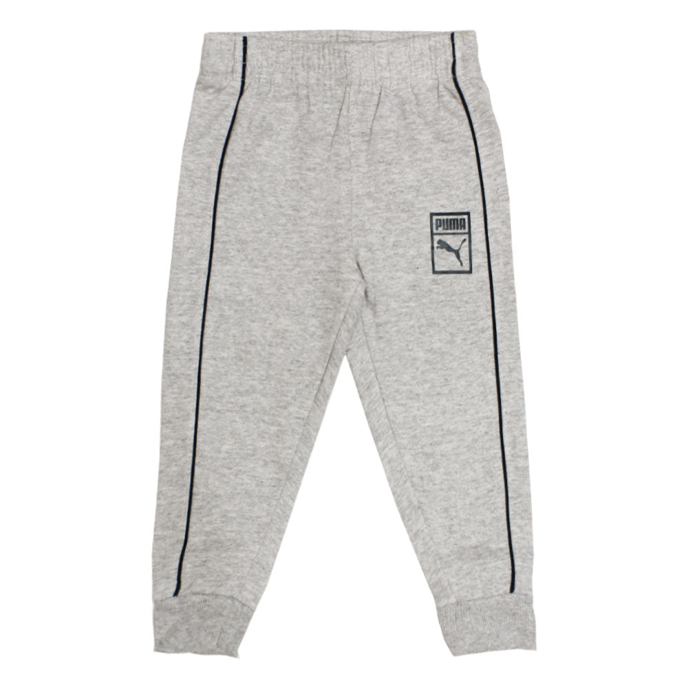 PUMA Blue And White Boys Cotton Fleece Grey 2 Piece Set