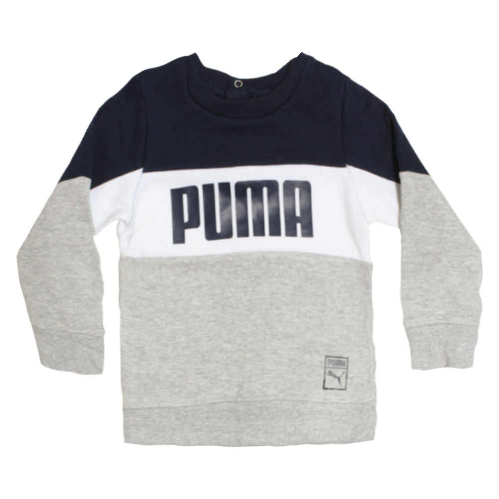 PUMA Blue And White Boys Cotton Fleece Grey Sweat Shirt
