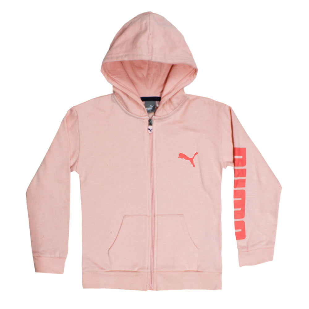 PUMA Logo Print Pink Girls Cotton Fleece Hoodie