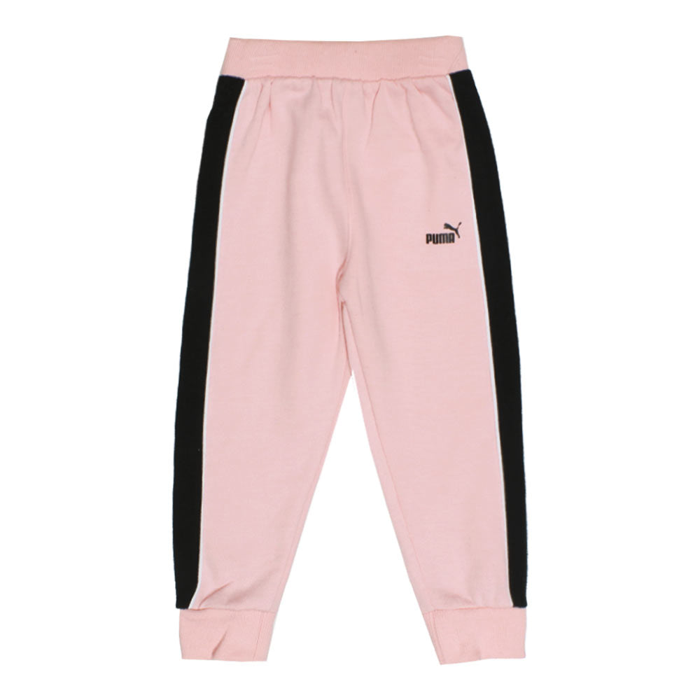 PUMA Pink And Black Logo Girls Cotton Fleece 2 Piece Set