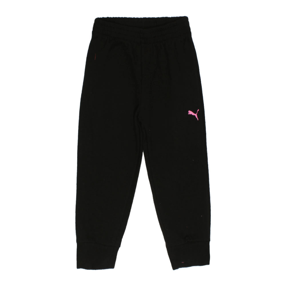 PUMA Pink Logo Black Girls Cotton Fleece 2 Piece Set