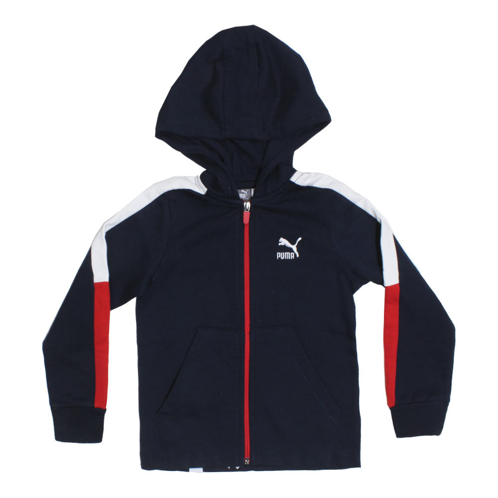 PUMA Red And White Blue Boys Cotton Fleece Hoodie