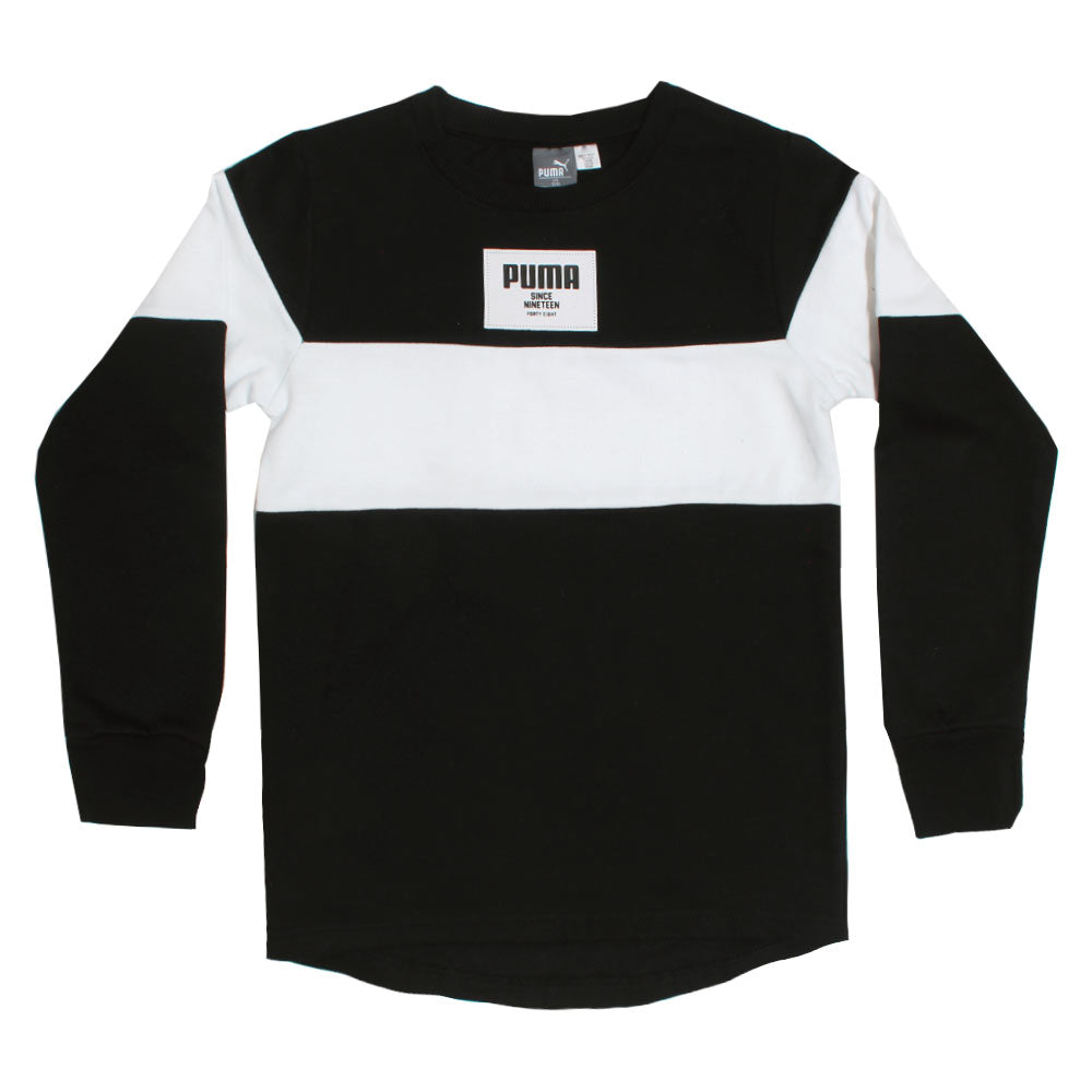 PUMA White And Black Boys Cotton Sweat Shirt