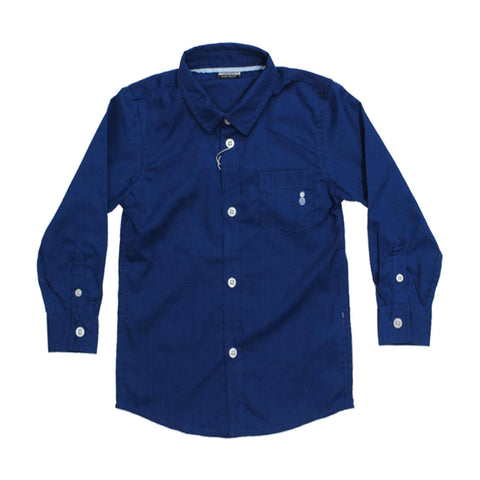 PIAZIA ITALIA Pineapple Embroidery Blue Boys Cotton Shirt 2 Piece Set