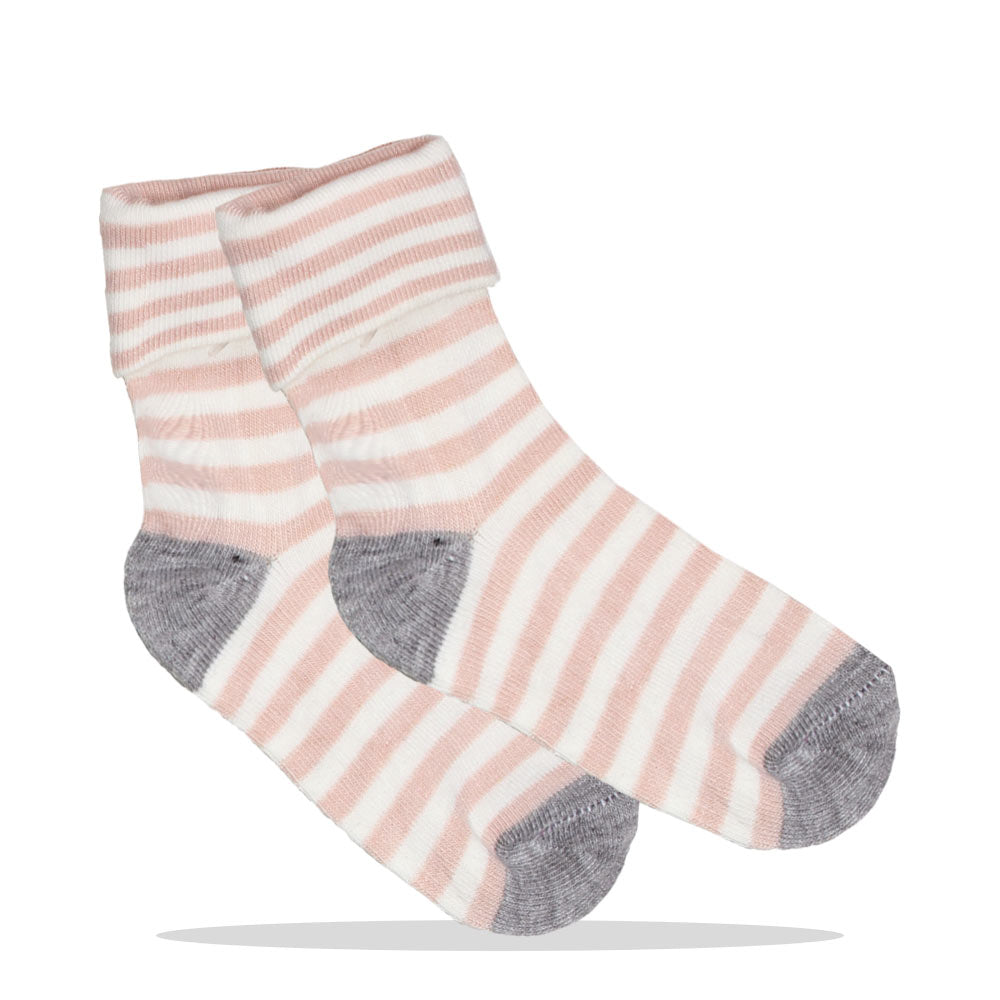 Pink And White Stripes Girls Cotton Socks