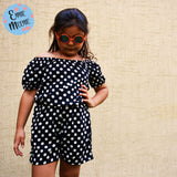 ENNIE MEENIE Polka Dots Black Girls Premium Cotton Jump Suit