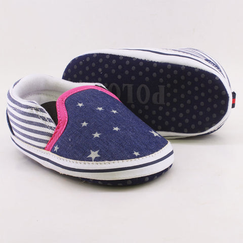 RALPH LAUREN Polo Blue Girls Cotton canvas Pre Walker Shoes