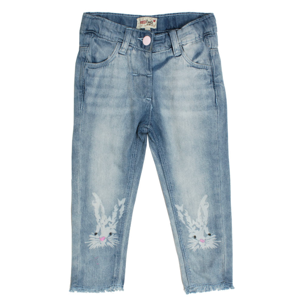 RED TAG Rabbit Face Print Blue Girls Denim Jeans