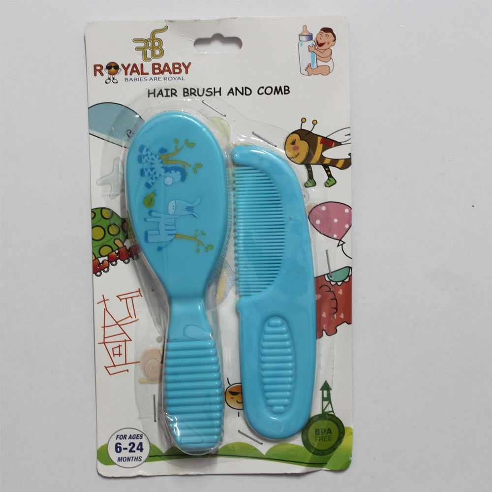 ROYAL BABY Hair Brush And Comb Blue Set Super Saver Pack of 2