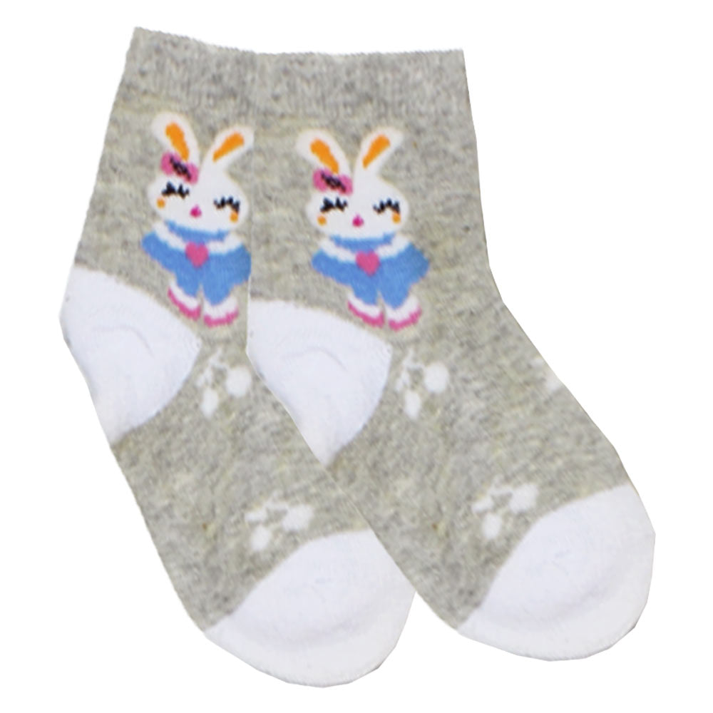 Rabbit Print Grey And White Girls Socks