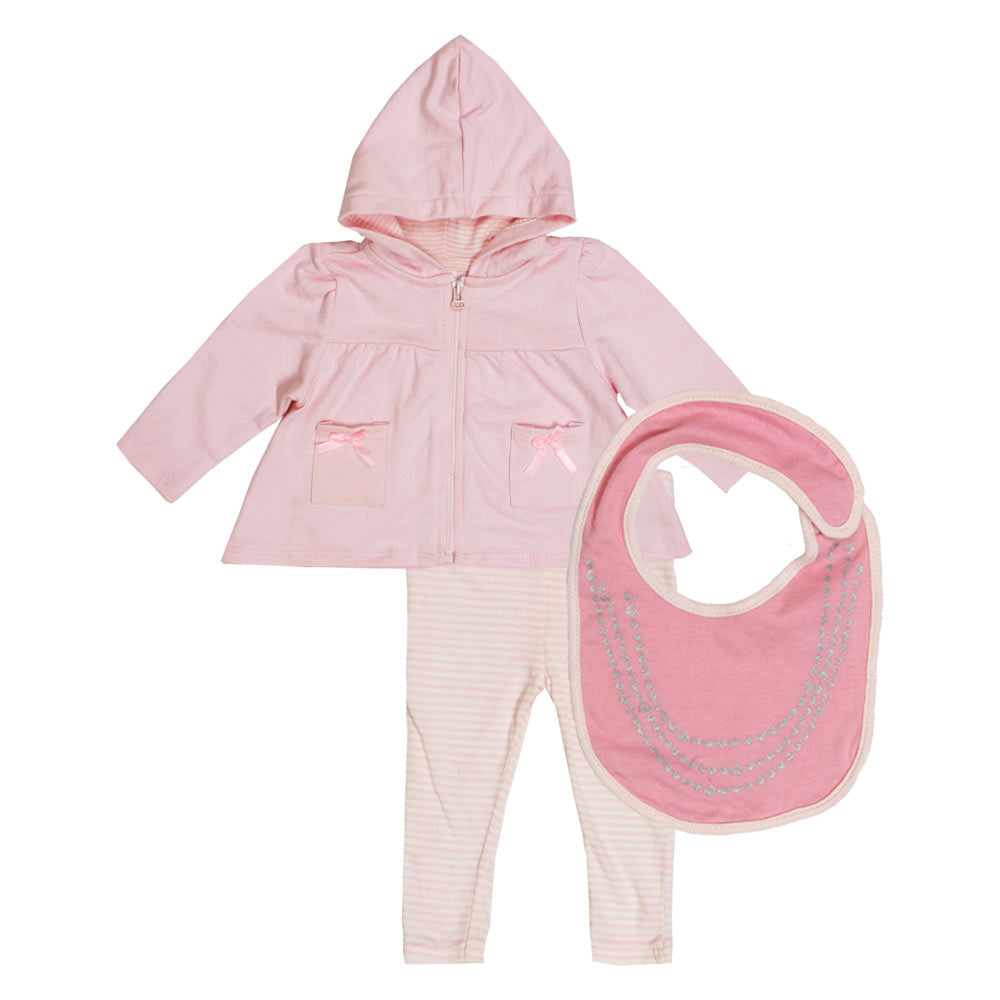 STARTING Hoodie And Trouser Baby Pink Girls Cotton Terry 3 Piece Sets