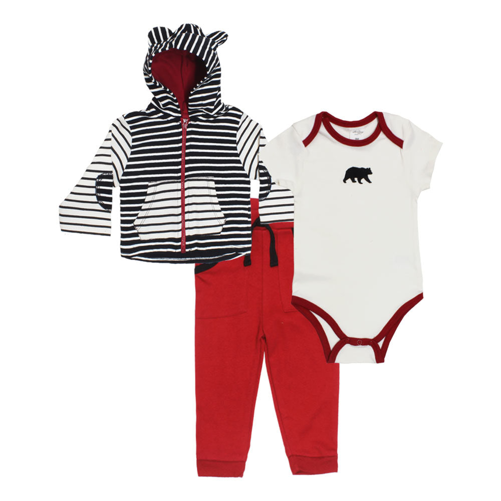 STARTING OUT Black And White Hoodie Boys Cotton 3 Piece Sets