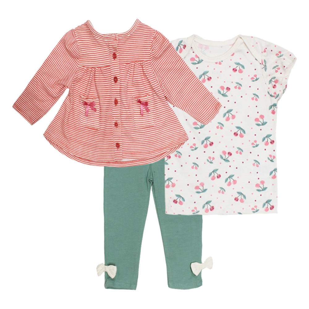 STARTING OUT Pink And Green Girls Cotton 3 Piece Sets
