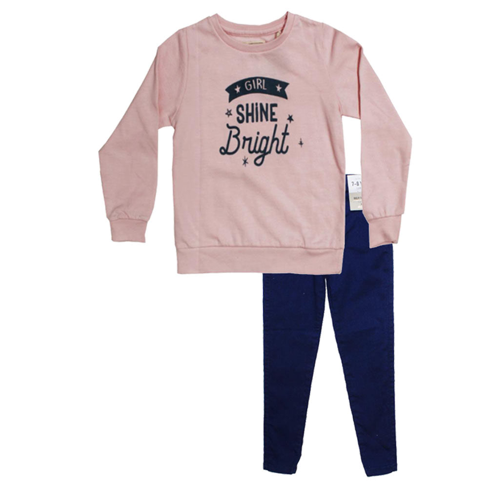Shine Bright Pink Girls Sweat Shirt 2 Piece Set