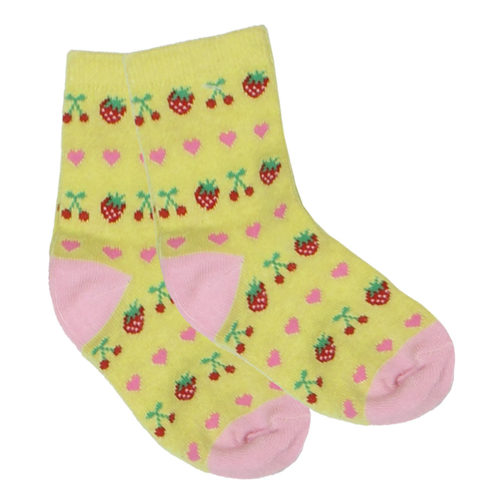 Strawberry Print Yellow Girls Socks