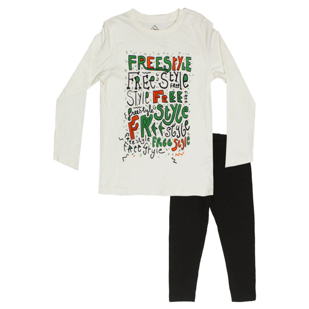 TEX Off White Girls Premium Cotton Tshirt 2 Piece Set