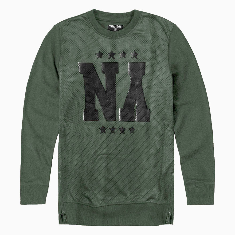 TERRANOVA Side Zip Na Star Print Green Boys Cotton Tshirt