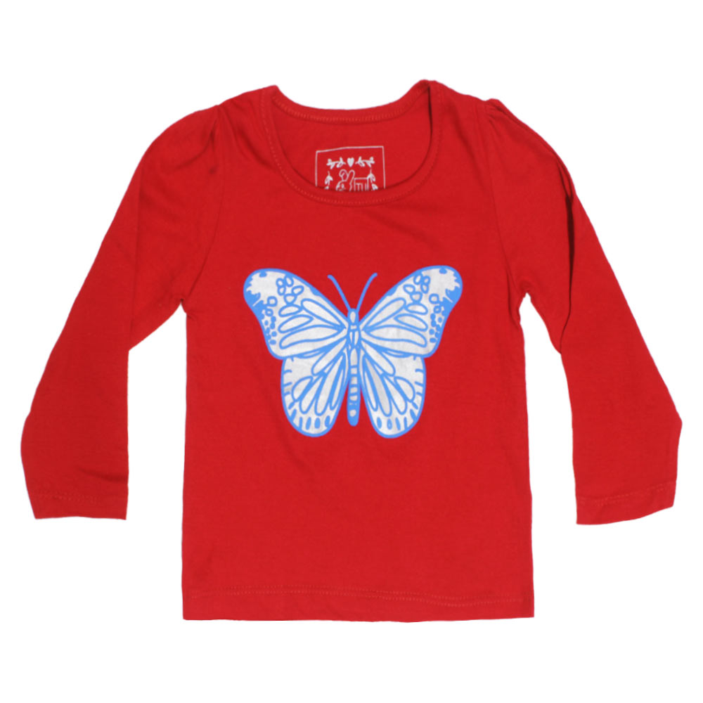 TU Butterfly Print Girls Premium Cotton Tshirt 3 Piece Bundle