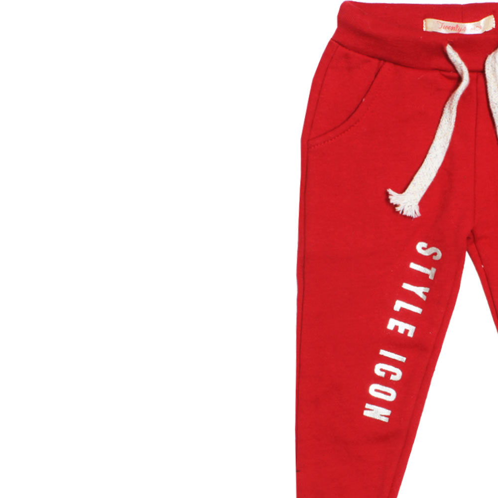 TWENTY 4 Glitter Print Red Girls Cotton Fleece Trouser