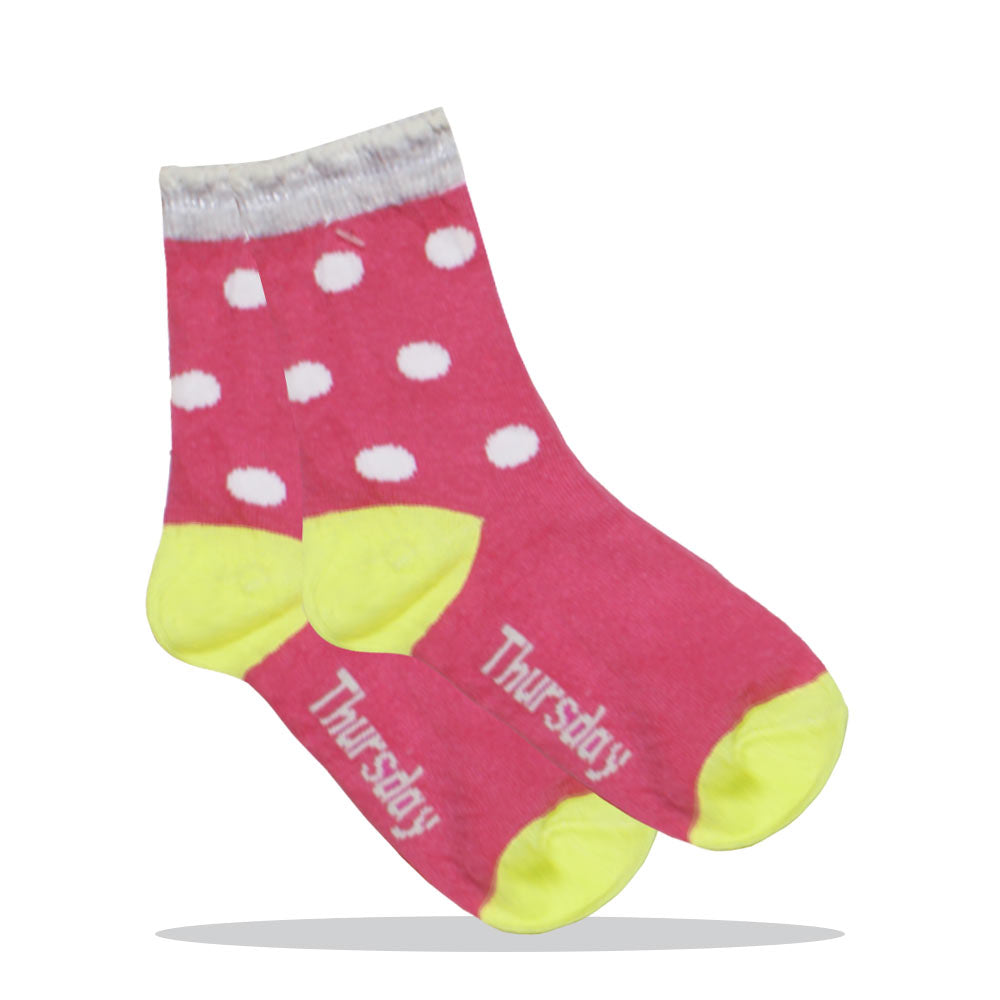 Thursday Pink Polka Dots Girls Cotton Socks