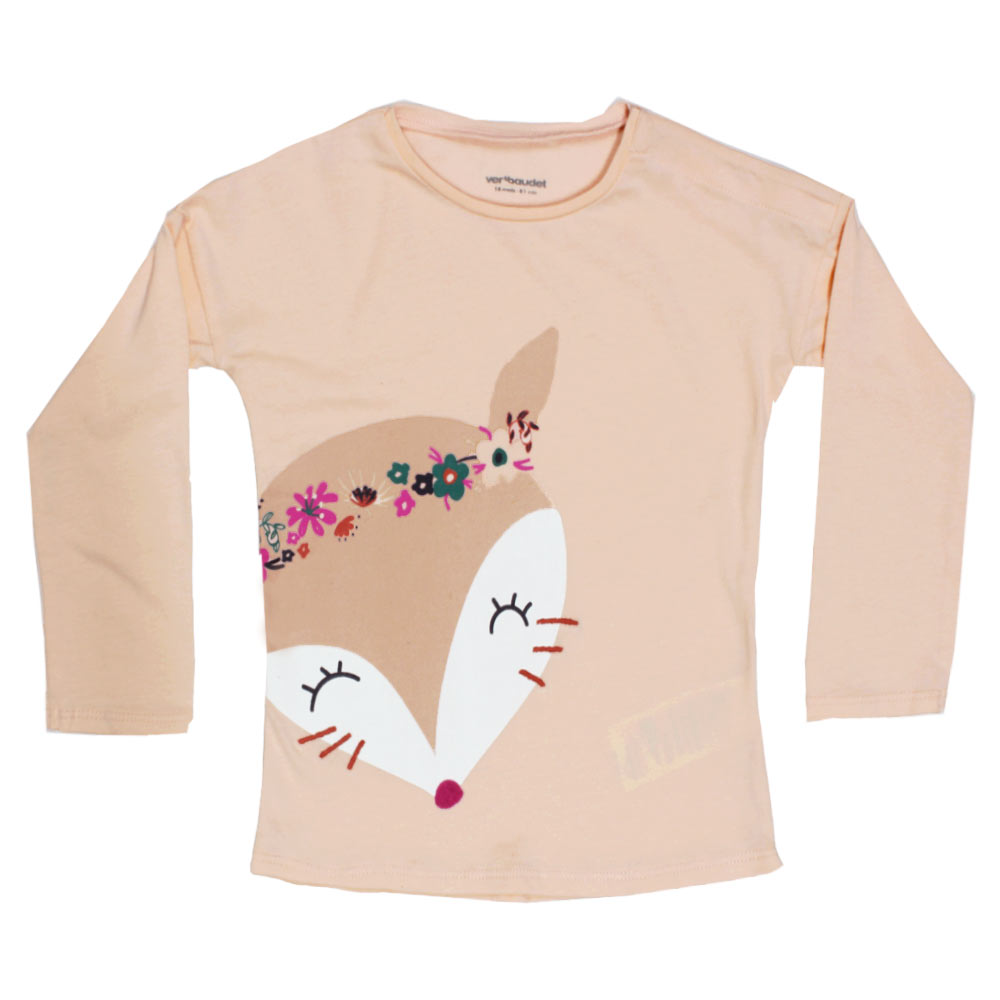 VERTBAUDET Fox Face Print Pink Girls Premium Cotton Tshirt