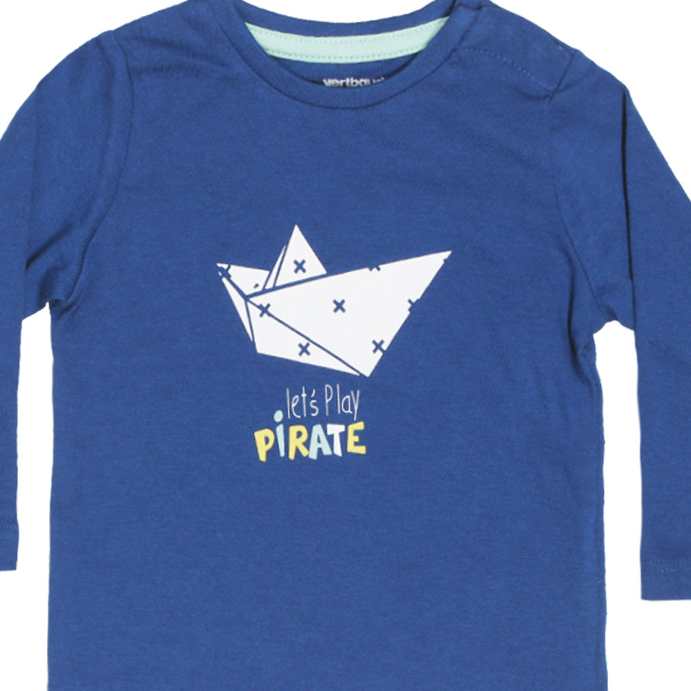 VERTBAUDET Pirate Print Blue Boys Premium Cotton Tshirt