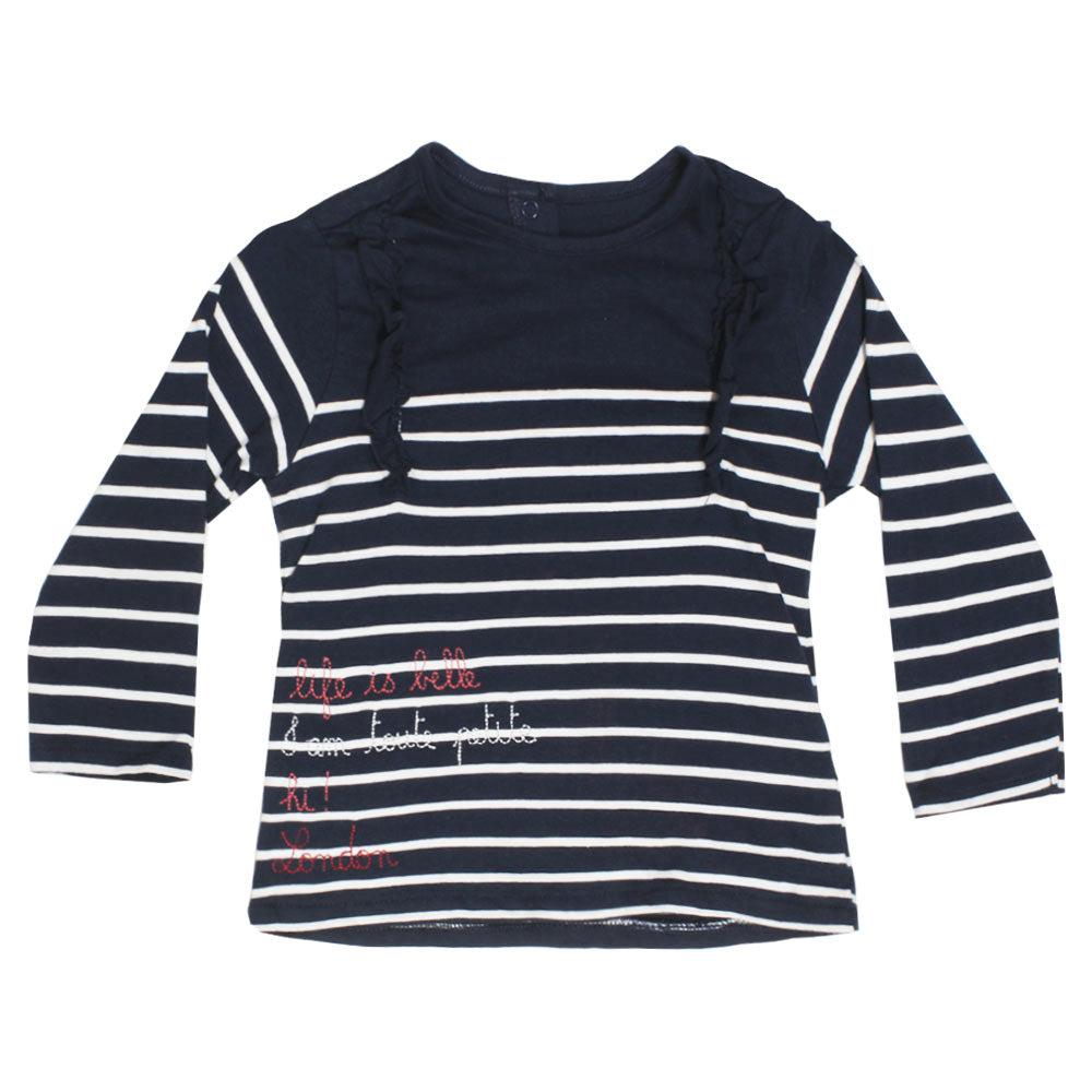 VERTBAUDET White Stripes Frill Blue Girls Premium Cotton Tshirt