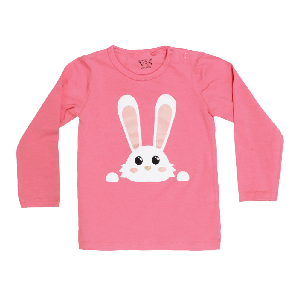 VRS Rabit Face Print Pink Girls Premium Cotton Tshirt