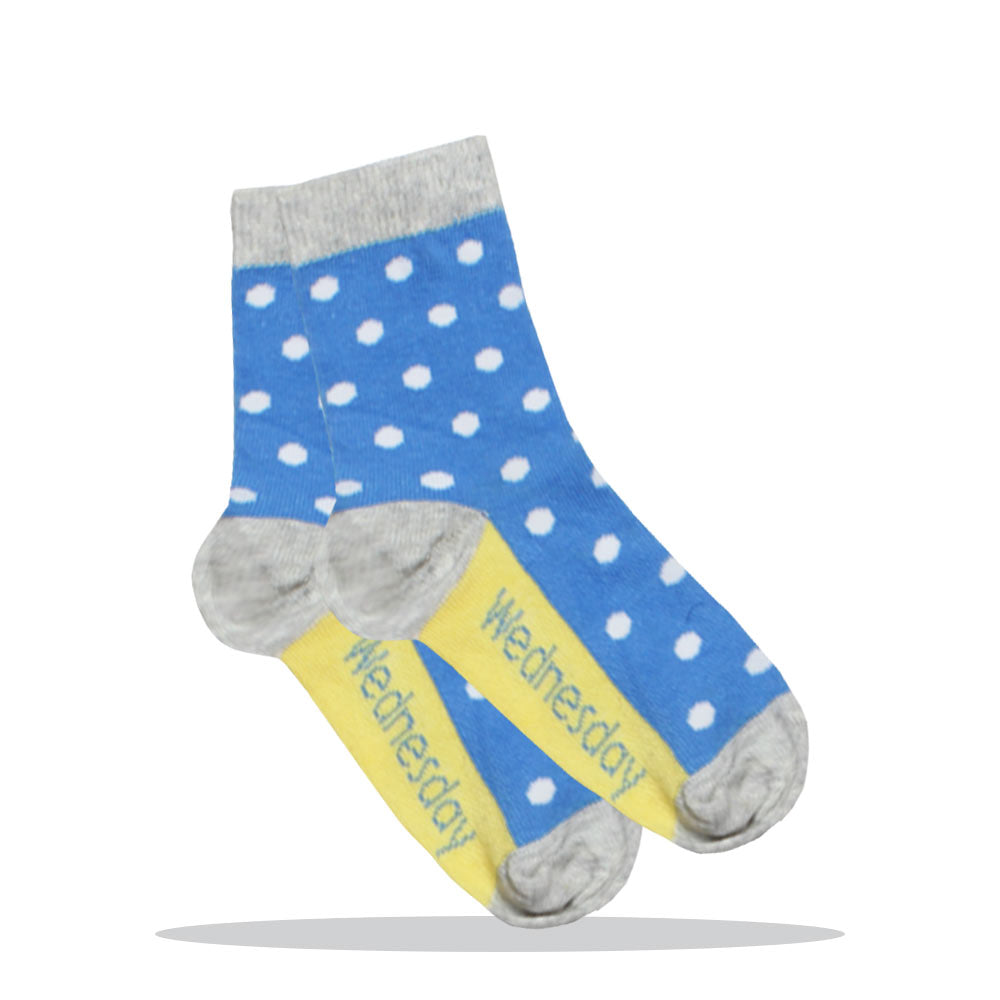 Wednesday Polka Dots Blue Girls Cotton Socks