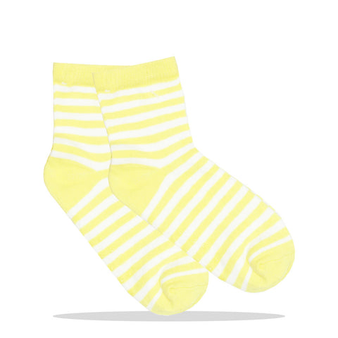 Yellow And White Stripes Unisex Cotton Socks