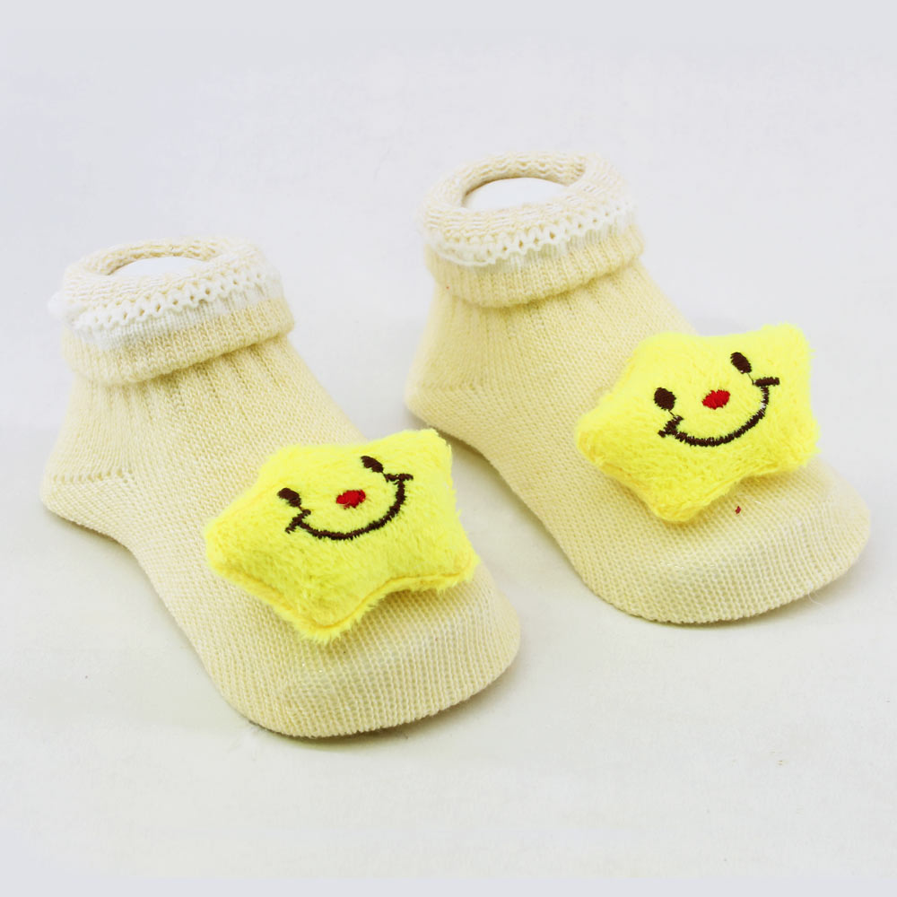 Yellow Star Unisex Cotton Baby 3D Socks