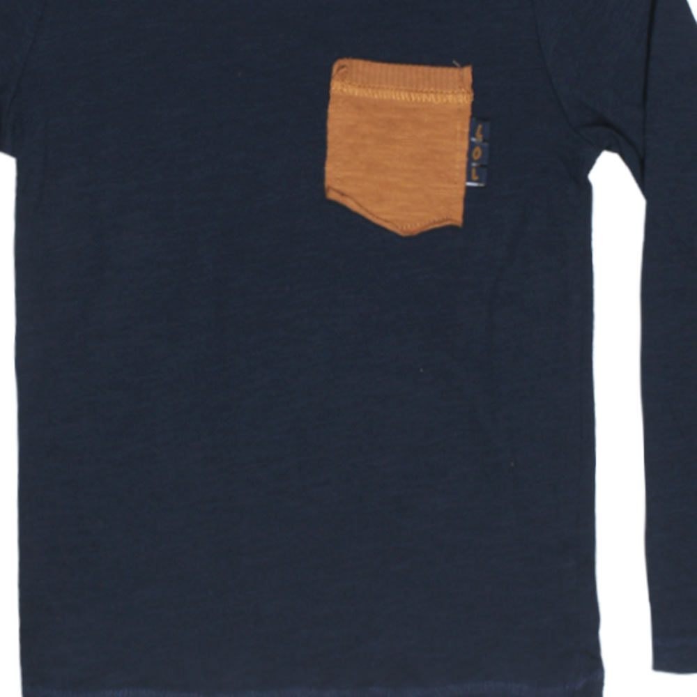 ZARA BABY Brown Pocket Blue Boys Premium Cotton Tshirt