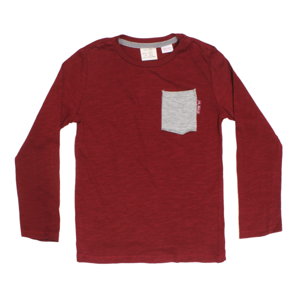ZARA BABY Front Pocket Maroon Boys Premium Cotton Tshirt